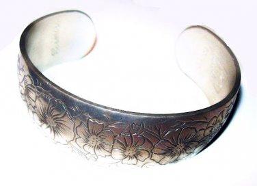 """Pewter Cuff Bracelet Signed Kirk Cosmos Flower Design 7-8"""" Wrist Vintage"""