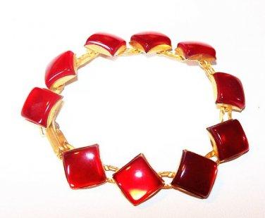 "Red Moon Glow Link Bracelet Princess Stones Gold Metal 6.5"" Vintage Mid Century"