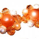 "Peach Cluster Clip On Earrings Lucite Opaque Beads Pin Wired Brass 1 1/4"" Vintage"