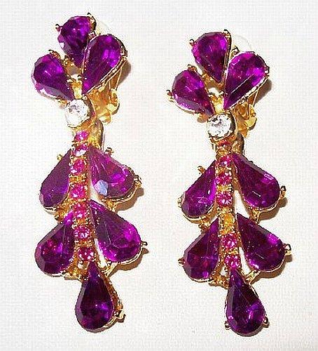 "Rhinestone Dangle Earrings Fuchsia Pink Color High End Gold Metal Long 2.5"" Vintage"