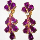"Rhinestone Dangle Earrings Fuchsia Pink Color High End Gold Metal Long 2.5"" Vintage"