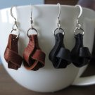 Leather Earrings...Knotted Leather Earrings//Boho Chic//Leather and Sterling Silver Earrings