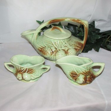 McCOY PINE CONE ART POTTERY TEA SET GREEN BROWN VINTAGE USA 1940's TEAPOT