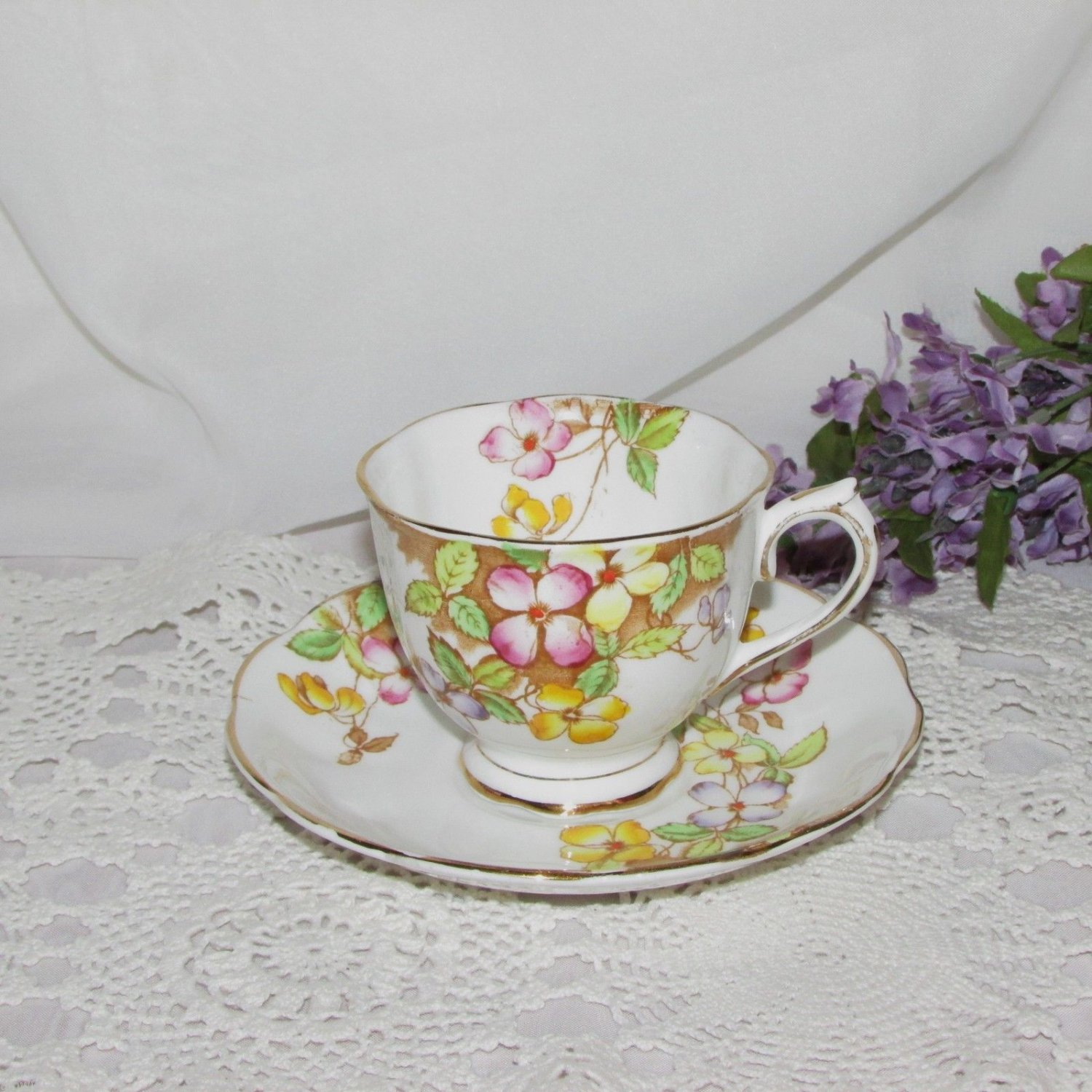ROYAL ALBERT CUP & SAUCER CLEMATIS HAND PAINTED FLOWERS ENGLISH BONE CHINA