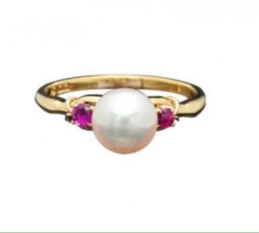 14k Yellow gold, 0.20ctw red Ruby, natural 5mm freshwater white pearl ring