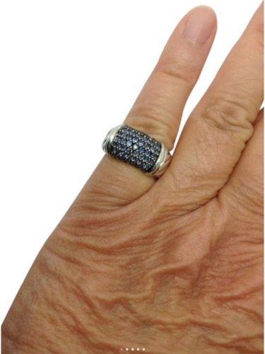 David Yurman Sterling Silver Blue Sapphire Unisex Wide Band Fashion Ring