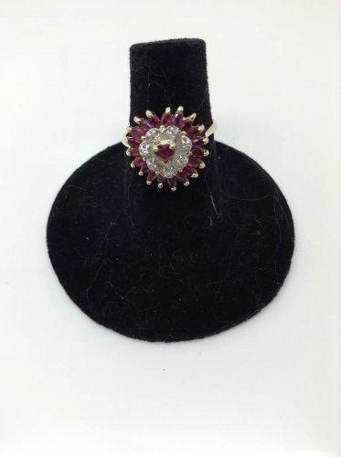 14k yellow gold, 2.00ctw  red ruby, genuine diamond, ballerina ring