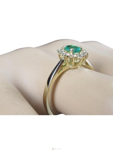 14k yellow gold, genuine Diamond, green emerald, fashion, halo ring