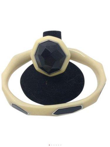 Ippolita Black Onyx Ivory Resin Sterling Silver Ring Bracelet SET