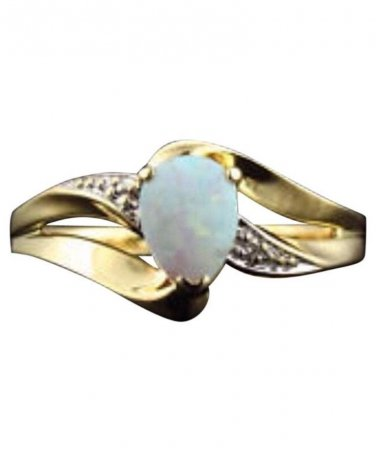 10k yellow gold, 0.50ctw Diamond, Australian Opal, Fashion Ring