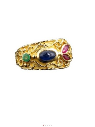 18k Yellow Gold Green Emerald Red Ruby Blue Sapphire Scroll Ring