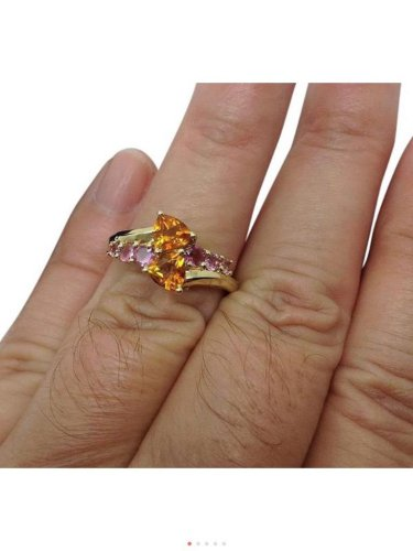 Vintage, 14k yellow gold, purple topaz, yellow citrine, multistone, bypass,ring