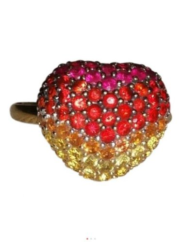 LeVian, 14k, red, orange, yellow sapphire, heart shaped, fashion, statement ring