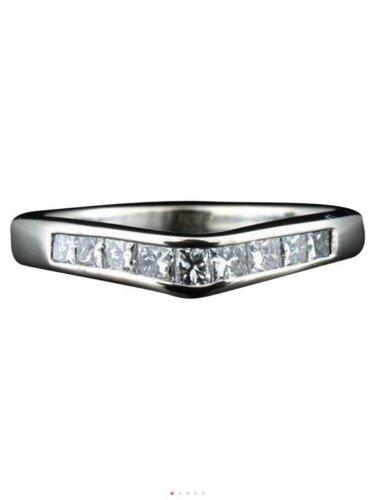 14k white gold, genuine Diamond, chevron, anniversary, wedding, engagement ring