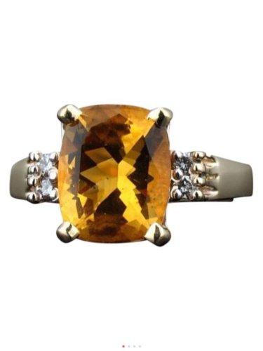 3.00ctw, 14k yellow gold, genuine diamond, citrine, statement, fashion ring
