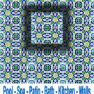 GAMRA DESIGN ACCENT TILE 4in X 4in, in Antique Looking Ceramic Tiles