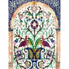 MOSAIC BABY PEACOCKS WALL MURAL 18in X 24in, in Antique Looking Ceramic Tile Wall Murals