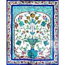 BLUE TURQUOISE POT CERAMIC WALL MURAL, 24in X 30in, in Antique Looking Ceramic Tile Wall Mural