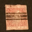 1854 Spain Coat of Arms Stamp, Sc # 28 Used, Bar Cancel
