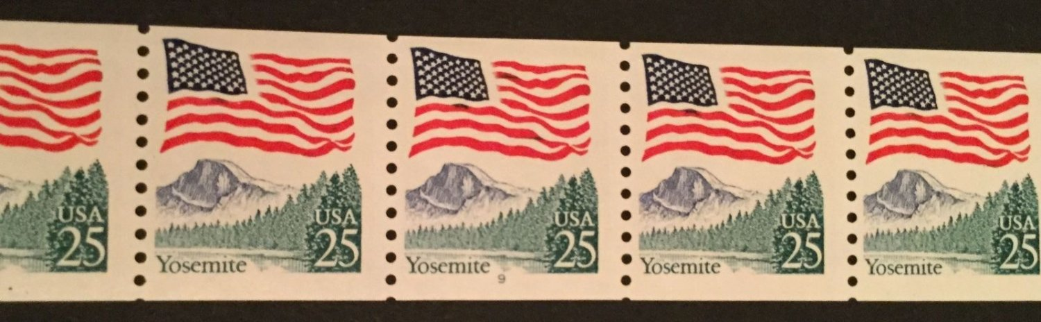 US. SC 2280 Flag & Yosemite Coil PNC5 Pl#9. Mint. NH