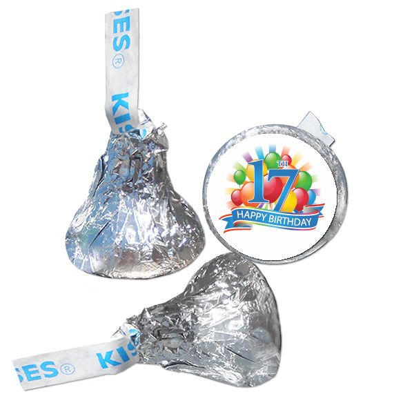 17th Birthday Party Supplies Hershey Kiss Labels Stickers Personalized Favors
