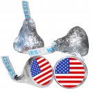 108 US Flag Hershey Kiss Kisses Labels Stickers Party Favors, 4th of July