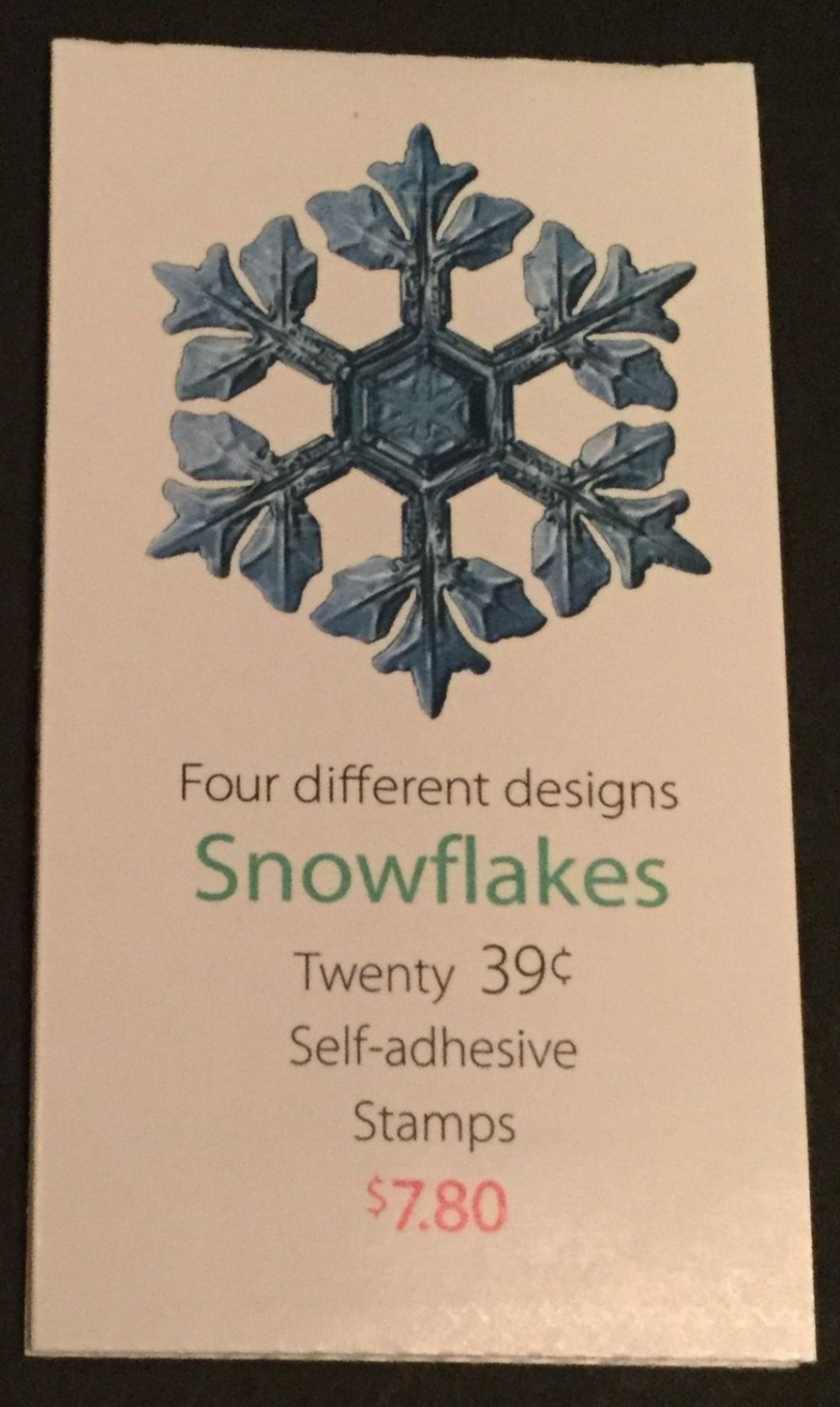 U.S. BOOKLET OF 20 SCOTT#BK303 2006 39ct CHRISTMAS SNOWFLAKES MINT P#S1111