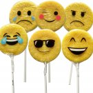 Emoji Face Emoticon Suckers Lollipop Favors - 12 Pack Large 1oz size Party Gifts