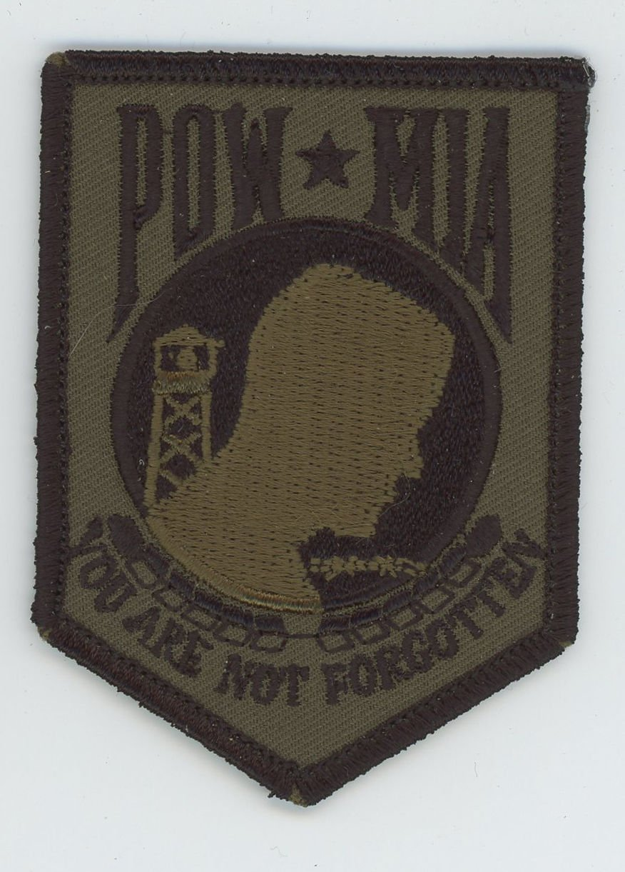 "POW*MIA PATCH for Hat, Jacket 3 1/2"" Subdued Green OD Veteran Army Navy Marines"