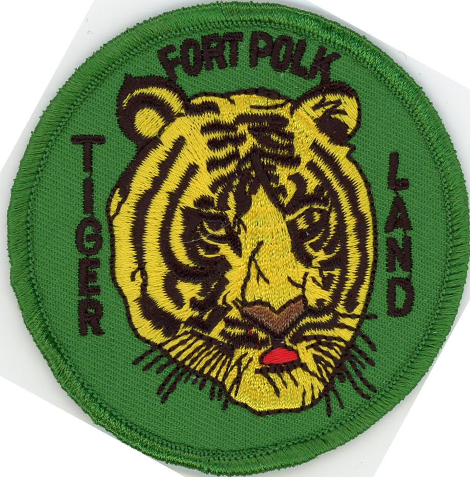 "US Army Military 3"" Iron On Patch School & Training Tiger Land Fort Polk Biker"
