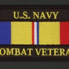 US NAVY COMBAT ACTION RIBBON VETERAN HAT PATCH MILITARY BADGE PIN UP USS FMF 4""