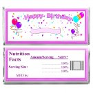 Birthday Party Supplies 12 Personalized Candy Bar Wrappers with Nutrition Facts