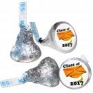 GRADUATION PARTY SUPPLIES 108 HERSHEY KISSES LABELS Class of 2017 Orange Cap