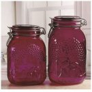 Wedding Gifts Set of 2 Glass Kitchen Canisters with Locking Lids Purple Jars