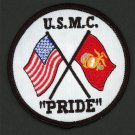 "USMC Marine Corps Patch ""USMC PRIDE"" with Crossed United States and USMC Flags"