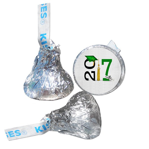 Class of 2017 GRADUATION PARTY FAVORS HERSHEY KISS KISSES LABELS STICKERS GREEN