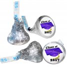 GRADUATION PARTY SUPPLIES 108 HERSHEY KISSES LABELS Class of 2017 Purple Cap