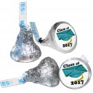 GRADUATION PARTY SUPPLIES 108 HERSHEY KISS KISSES LABELS Class of 2017 Teal Cap