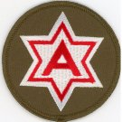 """US Army Military Patches 6th Army Red and White 6 Point Star 3"""" Iron-On Patch"""