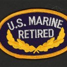 Military Patch US Marine Corps Retired Veteran Color Embroidered Iron-On 3-1/2""