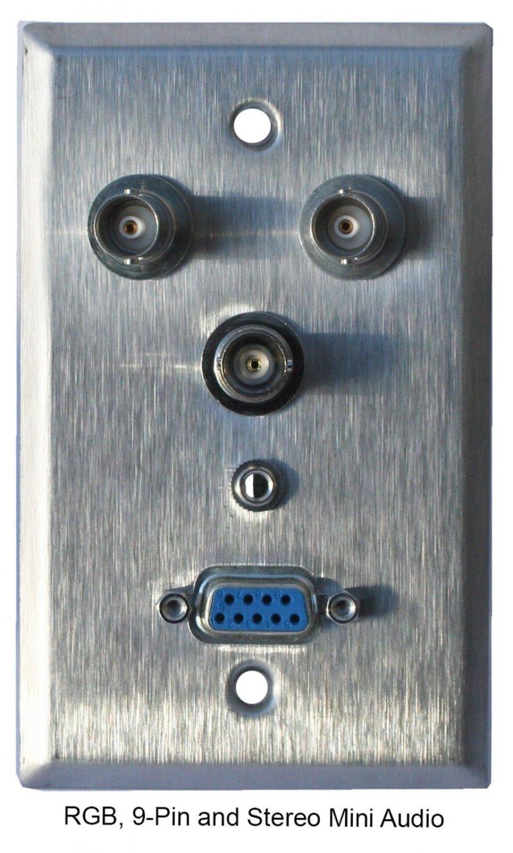 Wallplate with RGB BNC, 9-pin, ST mini Audio - Single Gang Wallplate, stainless