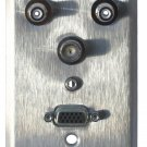 Wallplate: VGA, dual RCA, 1 BNC, ST Mini - Single Gang Wallplate, stainless