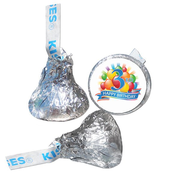 3rd Birthday Party Supplies Hershey Kiss Labels Stickers Personalized Favors