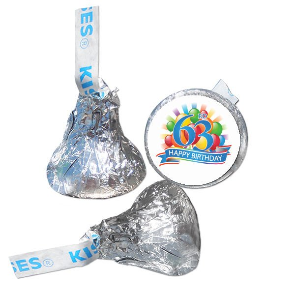 63rd Birthday Party Supplies Hershey Kiss Labels Stickers Personalized Favors
