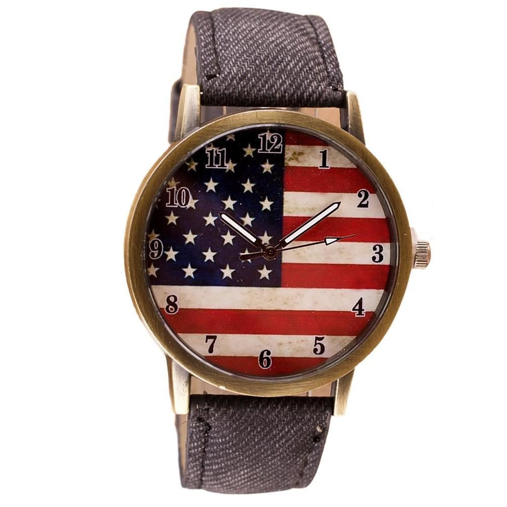 American Flag pattern Leather Band Analog Quartz Vogue Wrist Watches