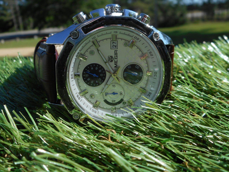 Megir 45mm chronograph white dial leather strap