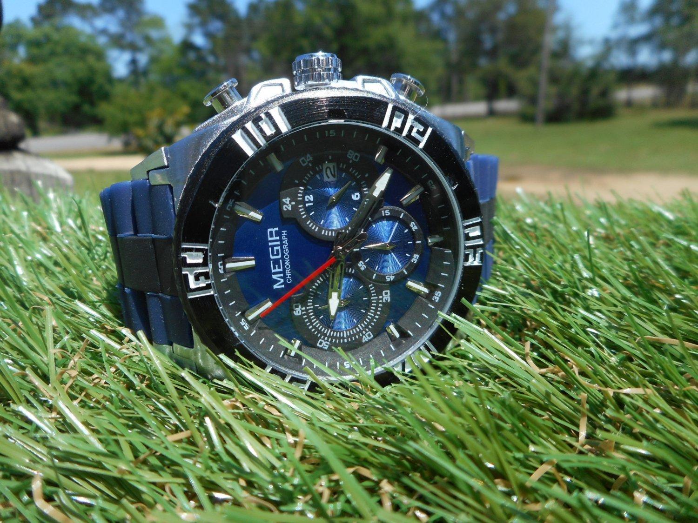 Megir 45mm blue dial chronograph watch