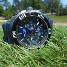 Megir 45mm blue dial chronograph watch