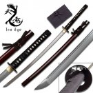 Japanese Sharp Damascus Steel Katana W / Burgundy Saya