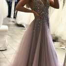 Sexy Side Split Prom Dress,Sleeveless Tulle Evening Dress,Long Party Dress